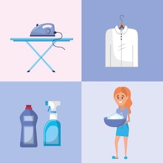 Wäscheausrüstung zum waschen der kleidung einstellen