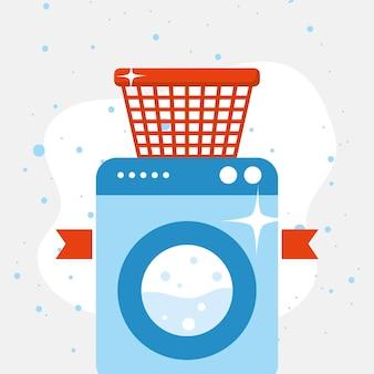 Wäschekorb auf waschmaschine auf spitzem hintergrund