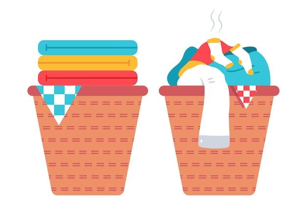 Wäschekorb mit sauberer und schmutziger kleidung cartoon-illustration.