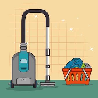 Wäschekorb und reiniger vakuum-symbol