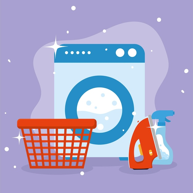 Wäschekorb waschmittel bügeleisen und waschmaschine auf lila hintergrund