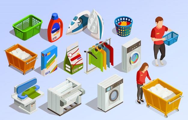 Wäscherei isometrische elemente gesetzt