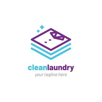 Wäscherei-logo mit sauberer kleidung-symbol