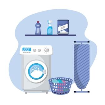 Wäscherei mit elektrogeräten und hausarbeit
