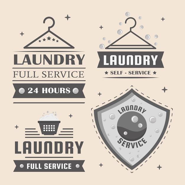 Wäscherei vier etiketten