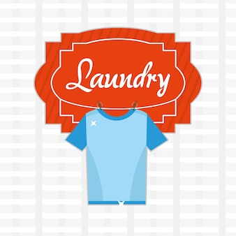 Wäschereiillustration mit sauberem t-shirt hängen