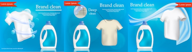 Wäschereiservice banner konzept set. realistische abbildung von 3 wäschereiservice-vektorfahnenkonzepten für netz