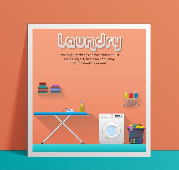 Wäscheservice-banner-vorlage mit waschküche
