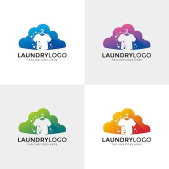 Wäscheservice logo design-vorlage.
