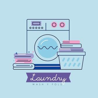 Wäscheservice-maschine und symbole