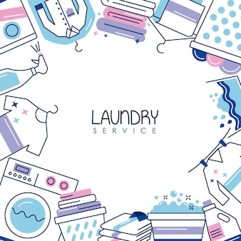 Wäscheservice-rahmen um symbole