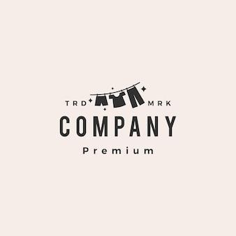 Wäschetrockner kleidung hipster vintage logo vorlage