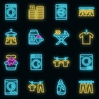 Wäschetrockner-symbole gesetzt. umrisse von wäschetrockner-vektorsymbolen neonfarbe auf schwarz