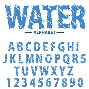 Wässern sie tropfenalphabet, moderne futuristische spritzenschlagzeilenbuchstaben und zahlen, abstrakte flüssige gusstypographie.