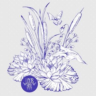 Wässrige blumengrußkarte des weinleseteichs