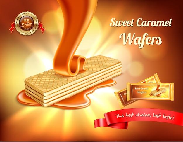 Wafer realistisches banner mit verschwommenen lichtern und gießendem karamell mit bearbeitbarem text und verpackung