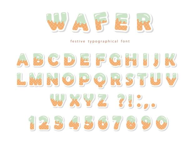Wafer-schriftart. süße süße buchstaben und zahlen