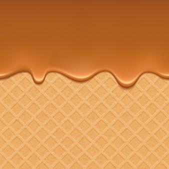 Wafer und fließendes karamell