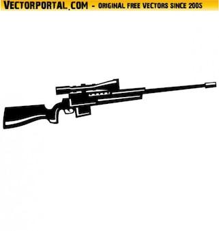 Waffe mit scharfschützengewehr optik vektor-illustration
