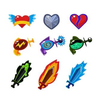 Waffe und symbole für spiele