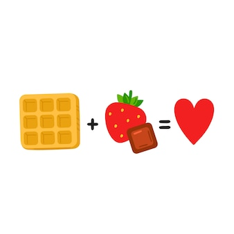 Waffel plus erdbeere, schokolade ist gleich liebe. nettes lustiges plakat, kartenillustration. vektor-cartoon-illustration-symbol. isoliert auf weißem hintergrund. waffel, schokolade, erdbeere, lustiges gleichungskonzept