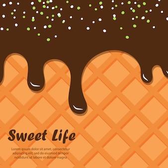 Waffel und schokoladenhintergrund