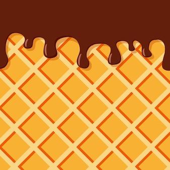 Waffel und tropfende schokolade waffelhintergrund für standorte von konditoreien bäckereien