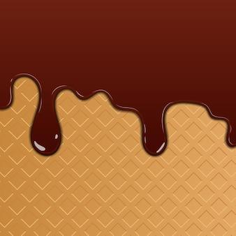 Waffel und tropfende schokolade