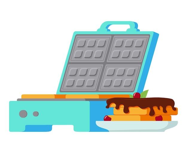Waffeleisen waffel mit schokoladenbelag elektrisches waffeleisen süßes gebäck past