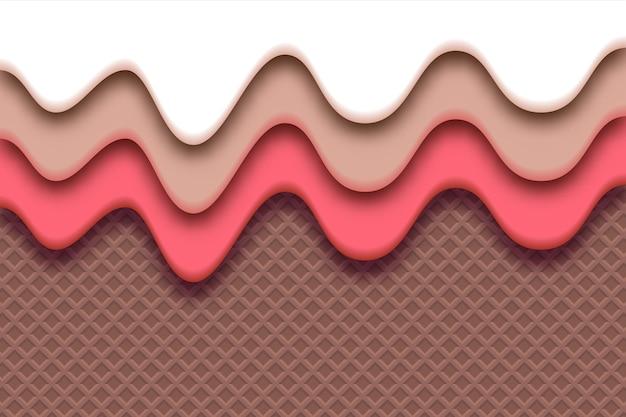 Waffelhintergrund mit erdbeere und flüssiger weißer schokoladencreme