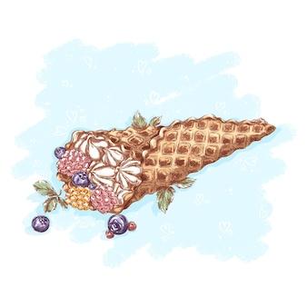 Waffelkegel mit buttercreme und blaubeeren, himbeeren und minzblättern. desserts und süßigkeiten.