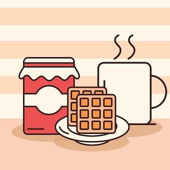 Waffeln, kaffeetasse und marmeladenglas im direkten stil