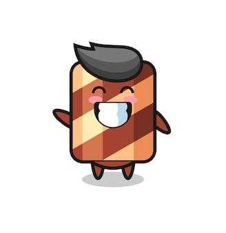 Waffelrollen-charakterkarikatur mit küssender geste, süßem stildesign für t-shirt, aufkleber, logo-element