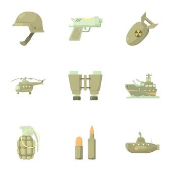 Waffen festgelegt, cartoon-stil