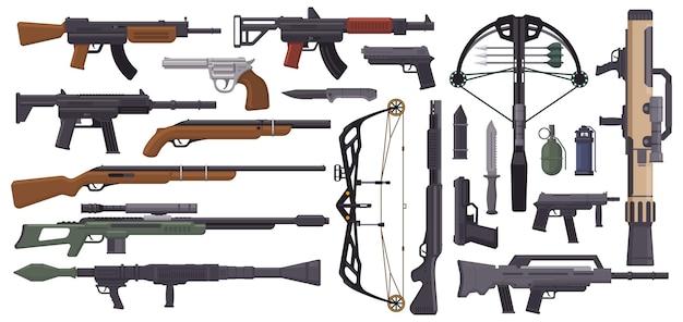 Waffen pistolen militärwaffen pistole armbrust messer granate maschinengewehr automatische schusswaffe vektor