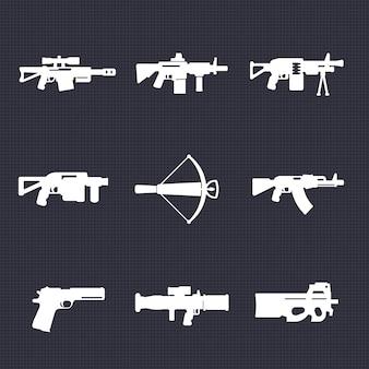 Waffen, schusswaffensymbole, automatische waffen, scharfschützen- und sturmgewehre, armbrust, pistole, granate, raketenwerfer, vektorillustration