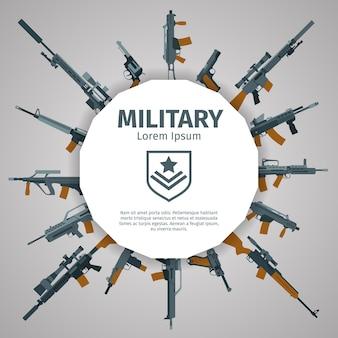 Waffenetikett. waffenabzeichen mit text. automatische waffen uzi, illustration banner mit gruppe von waffen
