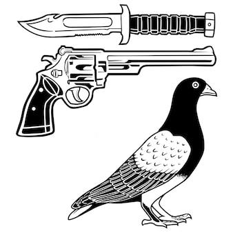 Waffenklinge und taube vogelhandzeichnung illustration