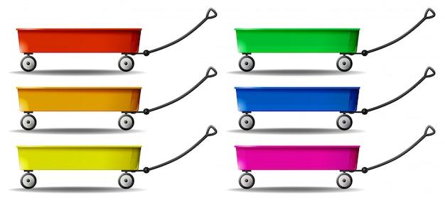 Wagen in sechs farben