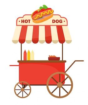 Wagen mit einem hot dog.
