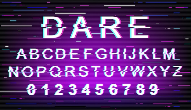 Wagen sie glitch schriftvorlage. retro futuristisches artalphabet gesetzt auf violettem hintergrund. großbuchstaben, zahlen und symbole. ermutigendes design von nachrichtentypen mit verzerrungseffekt