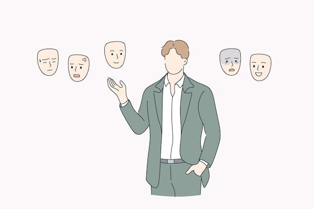 Wahl der stimmung, selbstidentitätsillustration. mann, der gesichter wählt.