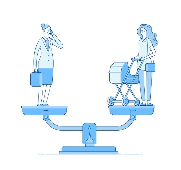 Wahl zwischen beruf und familie. work family balance, glückliche mutter mit kinderwagen und geschäftsfrau auf skalenkonzept
