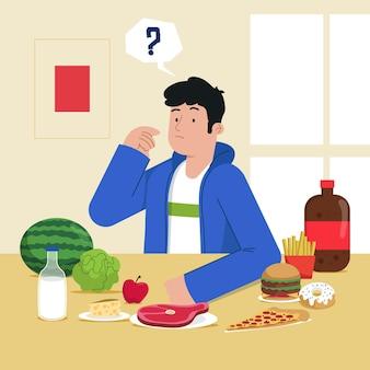 Wahl zwischen gesundem oder ungesundem lebensmittelkonzept