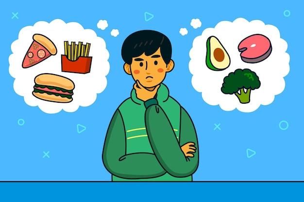 Wahl zwischen gesundem und junk-food-mann-charakter