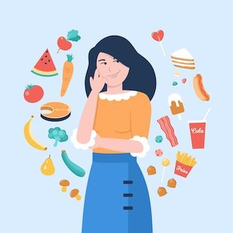 Wahl zwischen gesunden oder ungesunden lebensmitteln