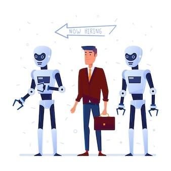 Wahl zwischen künstlicher intelligenz und mensch.