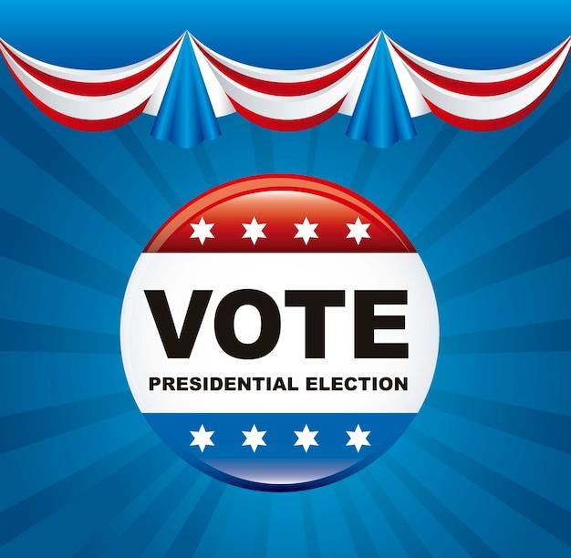 Wahlabstimmung der vereinigten staaten über blauem hintergrundvektorillustration