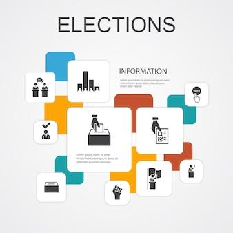 Wahlen infografik 10-zeilen-icons-vorlage. abstimmung, wahlurne, kandidat, exit poll einfache symbole