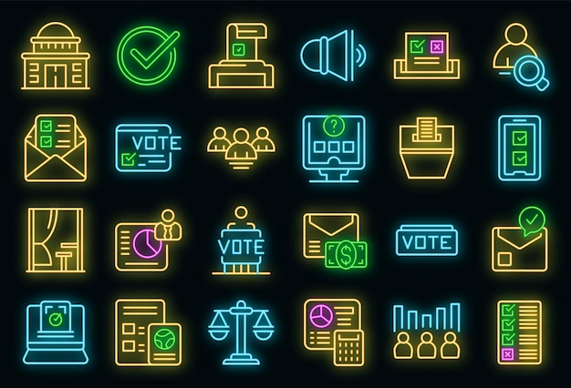 Wahlkabinensymbole setzen umrissvektor. wahlurne. wahlkampf im wahlkampf